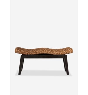 Sanibel Double Bench  (woven top, Acacia frame) (39x14x18) ,
