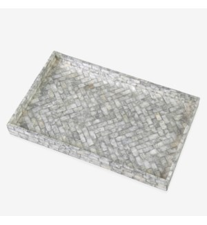 Orion Herringbone Striped Capiz Tray - Silver/Gray