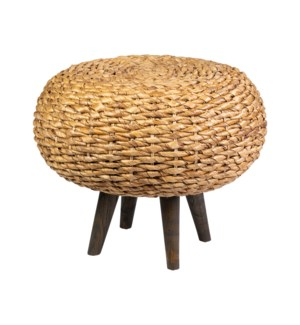 """25"""" Round Natural Fiber Ottoman with Wood Legs"""