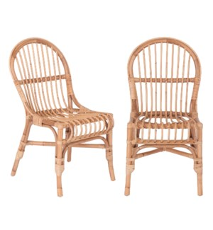 Round Back Rattan Dining Chair, Honey