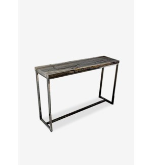 (LS) Uptown Onyx Console Table With Stainless Steel Base-Dark Color(46.5x13x29.5)