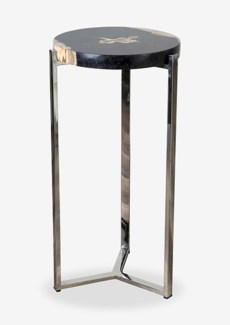 (LS) Uptown Organic Petrified Wood TableWith Life Edge on Stainless Steel Base-Dark Color-Tall(15.7