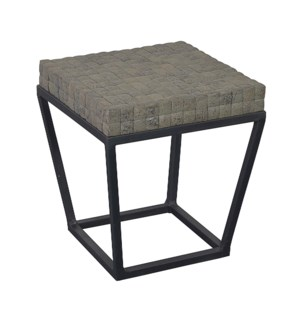 Denzelle Side Table  with Cocomosaic top -Small (16X16X18)