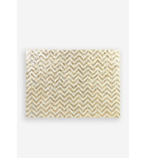 Capiz Herringbone Pattern in White and Gold Wall Decor..