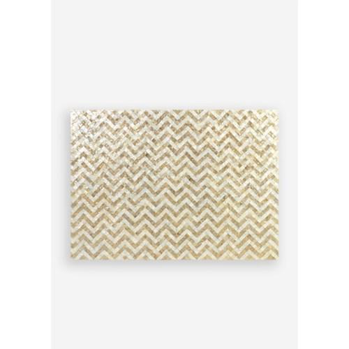 Capiz Herringbone Pattern in White and Gold Wall Decor..