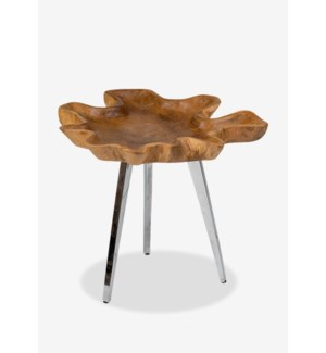 (LS) Allure freeform teakwood tray table with stainless steel base-Medium..(18x16x18).. Min purchase