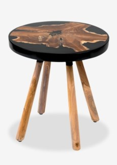 (LS) Queens Round pin leg side table with wood  design and Black resin..(18X18X18.5)..
