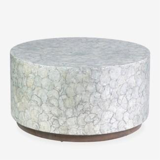 Round Grey Capiz Coffee Table
