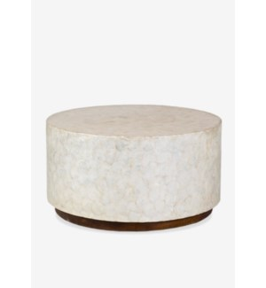 Round White Capiz Coffee Table. 31x31x16.