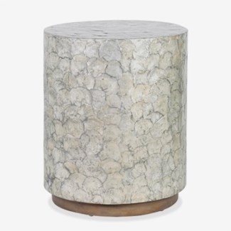 Capiz Round End Table - Grey