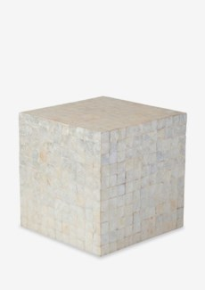Square Capiz Stool-White