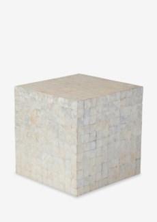 Square Capiz Stool-White