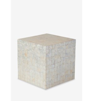 (LS) Square Capiz Stool-White