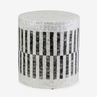 Orion Capiz End Table - White & Black
