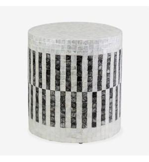 (LS) Orion Capiz End Table - White & Black