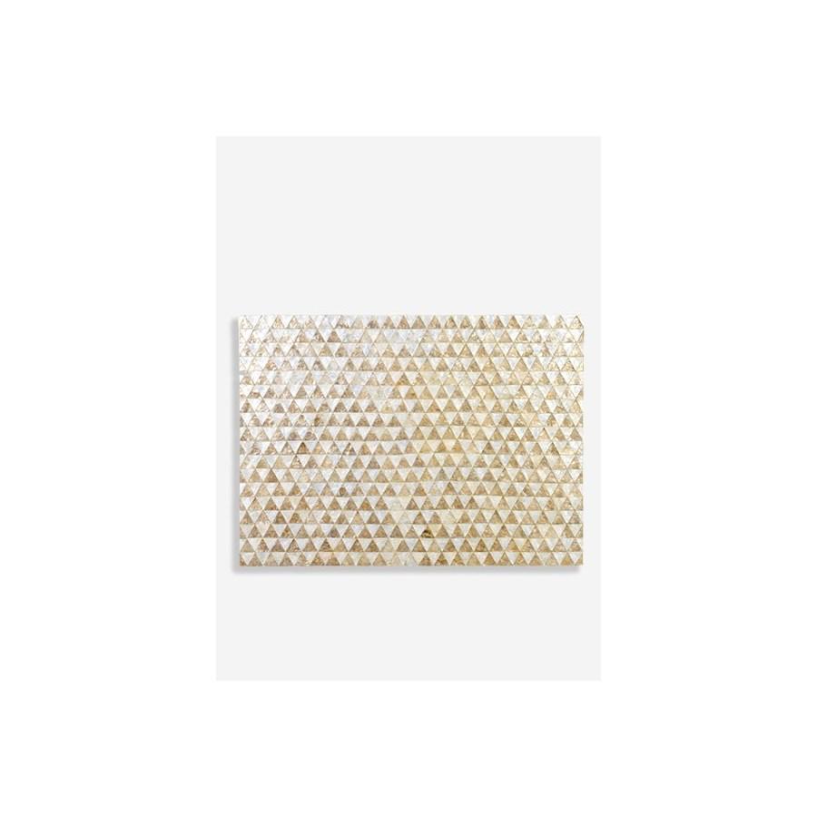 (LS) Capiz Zigzag on Sunburst Pattern in White and Gold Wall Decor..