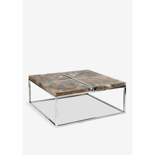 Uptown icy wood coffee table with stainless steel base - grey patina..(36x36X16)
