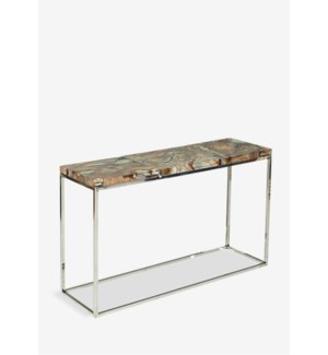 "(LS) 47"" Uptown Icy Console With Reclaimed Teakwood And Recycled Glass On Stainless Steel Cube B..."