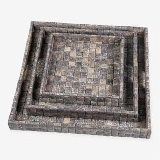 Coconut Tray set of 3-Fog Grain-Square..(24X24X2.5)..