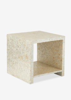 Uptown Cube side table with capiz White 4x4(19x19x19)
