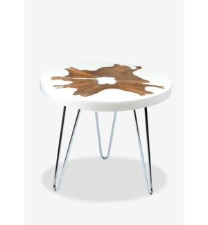 (LS) Uptown freeform side table in white resin - wood and iron base (22x22x19)..
