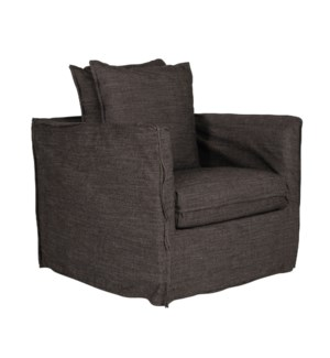 * Amelia Slipcovered Swivel Chair, Baxter NoirSeat: Down WrapBack: Blend Down