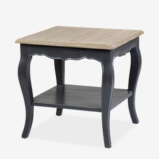 (LS)Ursuline Side table with shelf KD - Black with natural top