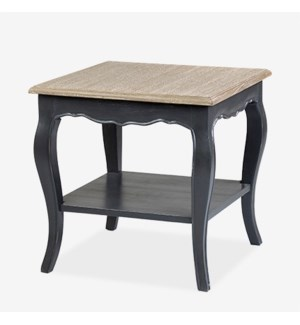 Ursuline Side table with shelf KD - Black with natural top..