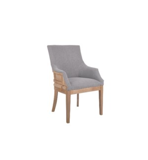 HIxon Deconstructed Armchair with Shoe Tack Trim, Taupe & Burlap