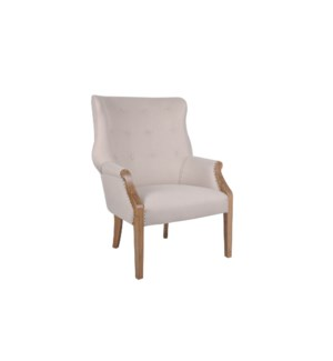 Connor Flared Arm Chair with Shoe Tack Trim, Natural Beige