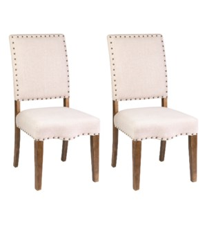 Hannah Dining Chairs (Set of 2) - Beige Linen - (package: 2pcs/box) priced per pair (20x25x40)