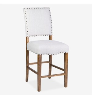 Hannah Counter Stool - Beige Linen - 19x23x44