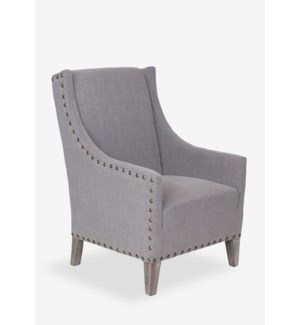 Harvard- Slight Winged Back Tailored Club Chair With Nailhead Accents.