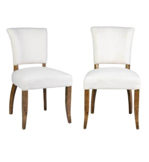 Logan Dining Chair  MOQ 2 - Cream Linen  - 20x25x35.5 (package: 2pcs/box) price is per piece