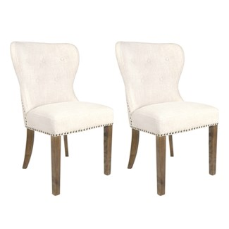 Paulie Dining Chair 2pcs/box - Beige Linen - 23x23x36