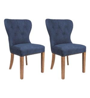 Paulie Upholstered Dining Chair-Blue w/ Wood Legs - MOQ 2 (package: 2pcs/box) price is per piece...