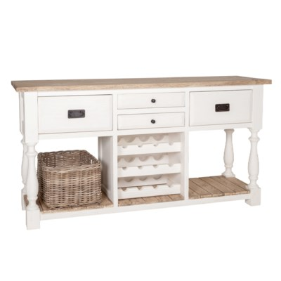 Chauncey Vintage Kitchen Sideboard With Wine Rack Drawer Two Tone Color 69x18x35 5