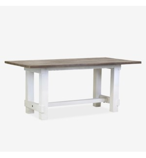 (LS) Chauncey Rectangle Dining Table with Natural Fir Top and White base (71X39.5X31)