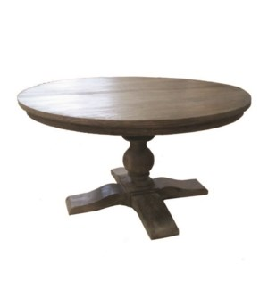 Chauncey Round Pedestal  Dining Table, Grey Patina Base and Top.