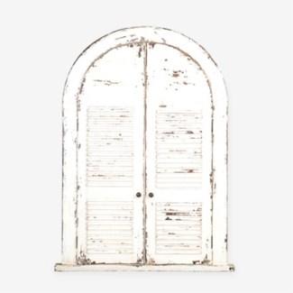 (LS) Chauncey Rustic Vintage Mirror-White..(53X39.25X4)