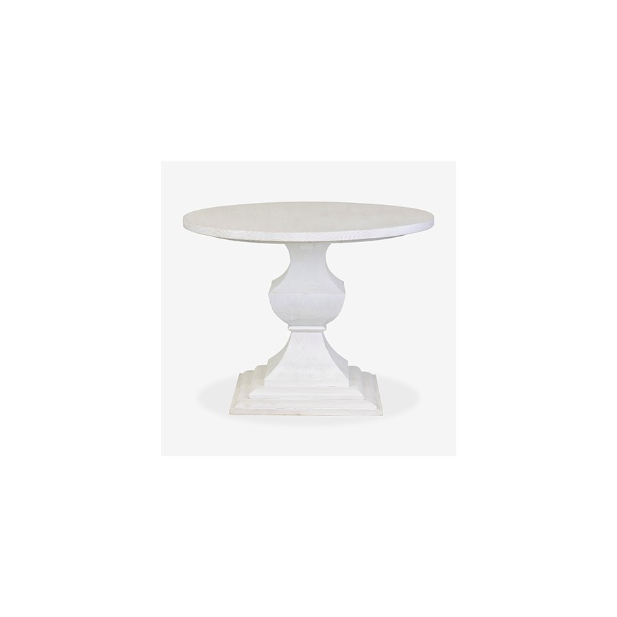 Chauncey Round Pedestal  Dining Table Med - White Wash (40x40x30)..