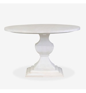 Chauncey Round Pedestal  Dining Table Med - White Wash (48x48x30)..