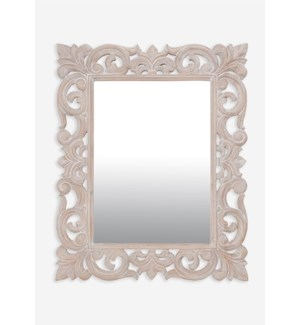 "(LS) Antoinette 38"" rectangle mirror - White..(38x1.2x31)...."