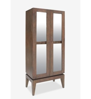 "(LS) Berlin 75"" H solid teakwood cabinet with glass door..(72X35X31)...."