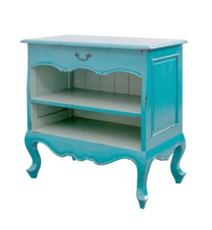 Cabriole Legs Bookcase With Drawer-Tosca Blue Distressed (34.3x18x33.5)