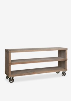 Cologne media console table with metal casters (K/D)..Solid pine wood/ metal castors..(65X1...