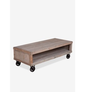 Cologne Soft industrial coffee table with metal castors (K/D)..Solid pine wood/ metal casto...