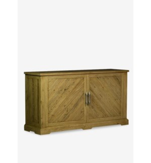 "(LS) Chevron 62"" solid pine wood sideboard..pine wood..finish: rustic natural..(62X18X34).."