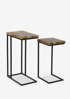 C-Tables with Icy Wood Clear Resin Top Set of 2. 17x10x25,5/16,5x10x25,5