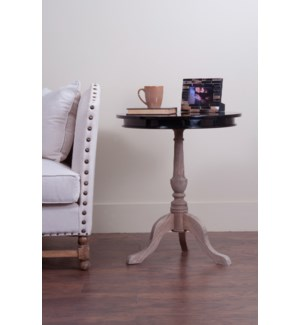 Ellington Round Side Table with Gloss Black top (K/D)